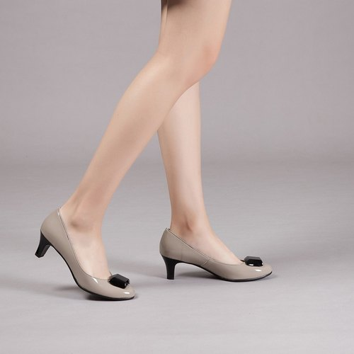 [Rain] head in an elegant box waterproof heels - elegant apricot light gray