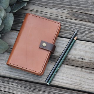 Multifunction A6 six ring veg-tanned leather binder - Brown