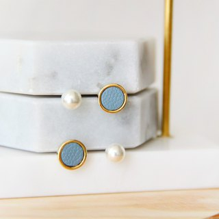 Leather round 4 piece set - blue ear ear earrings [can be changed ear clip]