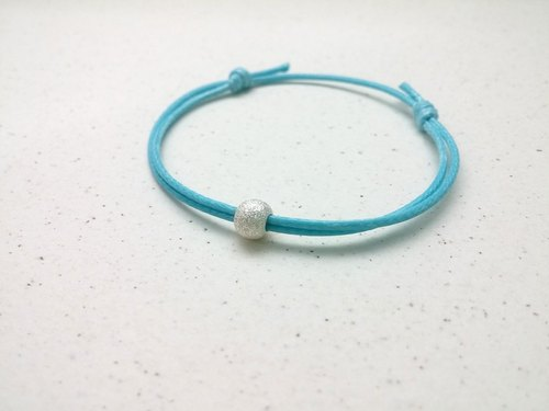 ♥ HY ♥ x handmade wax line bracelet s925 silver beads scrub plain simple thin wax rope