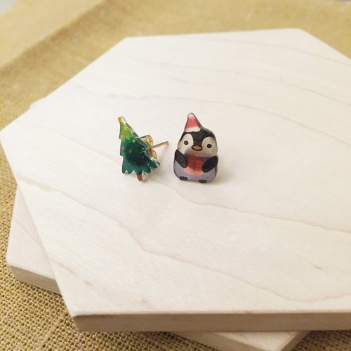 Oops bear - Xmas special series-Little penguin & Xmas tree earring