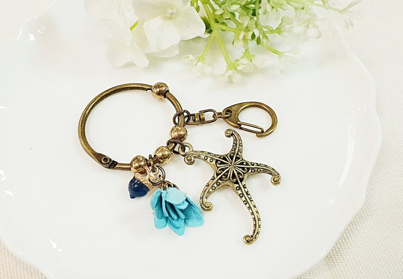 Paris*Le Bonheun. Fantasy forest series. starfish. Hollow bag charm key ring
