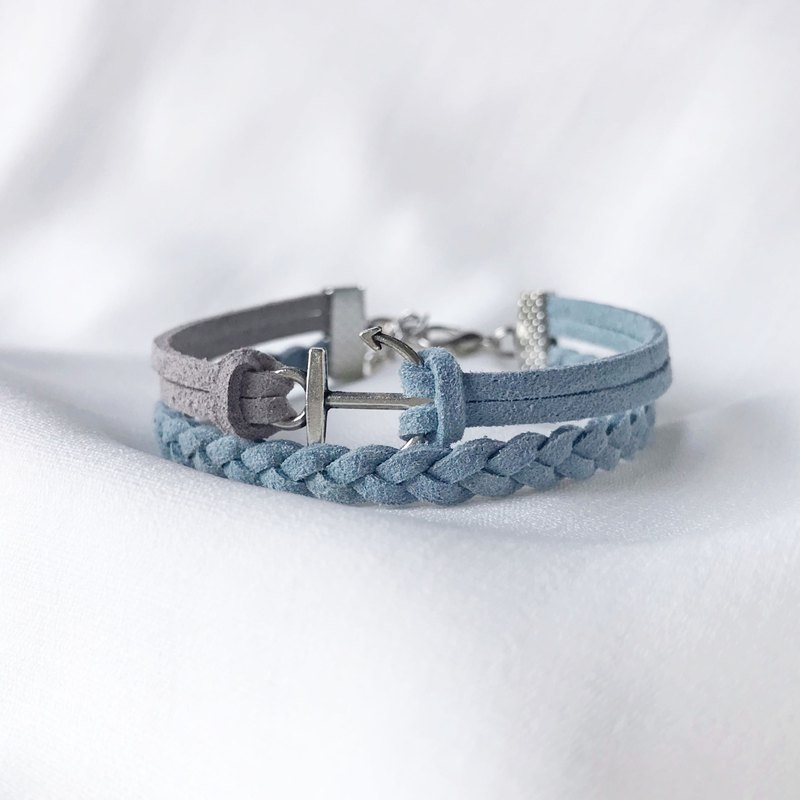 Handmade Double Braided Anchor Bracelets –light slate gray