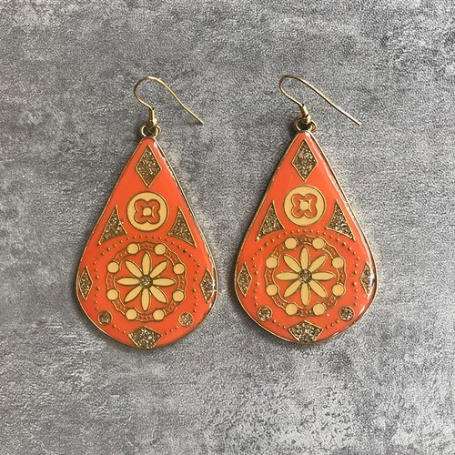 Metal frame orange water droplets ear type antique earrings BDA012