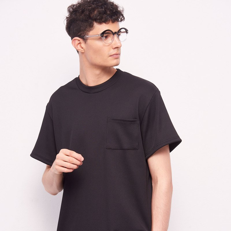 Stone@s Rib T-shirt In Black / Ribbed Pocket Short Sleeve Black