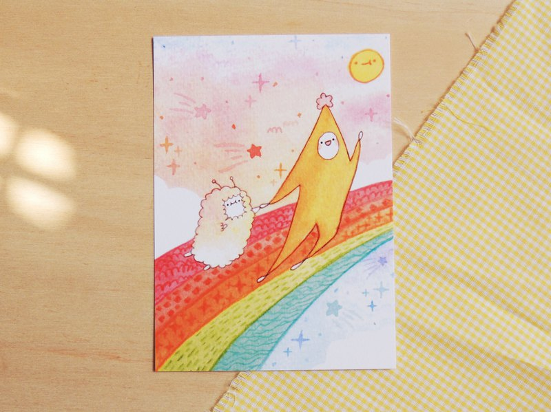 Together - Yellow Starfish Postcard / Valentines day card