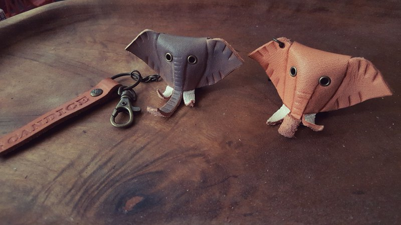 Cute little gray / small original leather elephant pure leather key ring - can be engraved name