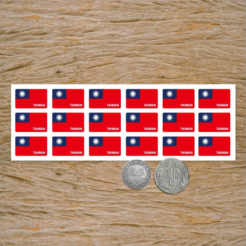 Taiwan flag square sticker / one 18 pieces / can be used with writing postcrossing