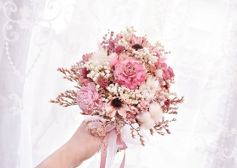 WANYI wedding dress outside pink dry flower bouquet dry flower / no withered flowers / bouquet / photo / wedding /