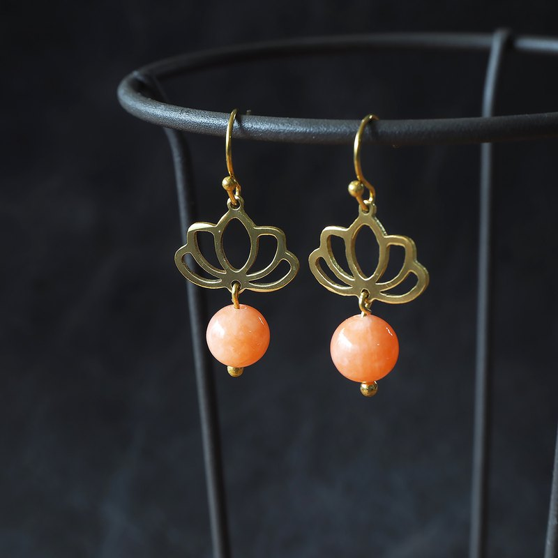 Lotus flower earrings with coral tone natural stone (brass hand made)