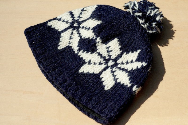 Christmas gift hand-woven pure wool hat / knitted caps / bristles hand-woven caps / wool cap (made in nepal) - deep blue snowflake National Totem (a handmade limited edition)