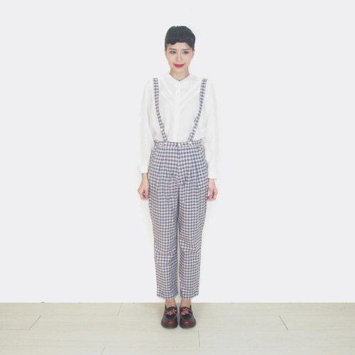 Plaid thin section cotton trousers vintage tape AT9003