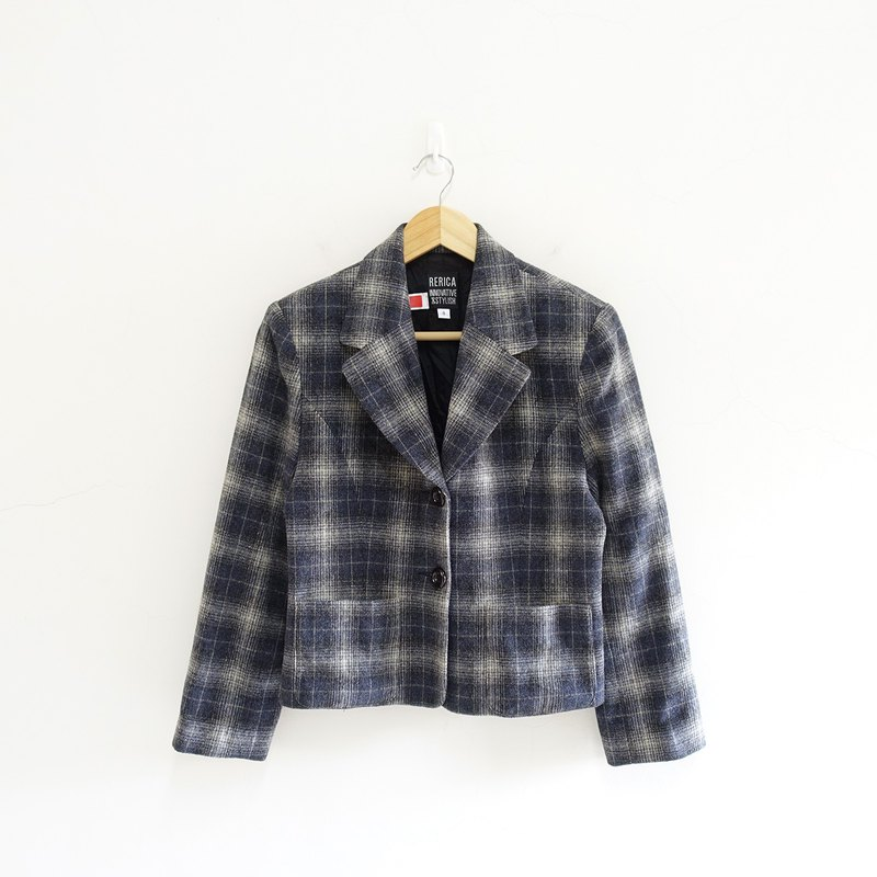 │Slowly│ Wen Qing Plaid - vintage suit jacket │vintage. Retro. Literature