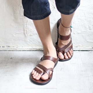 OMAKE full leather diagonal line sandals