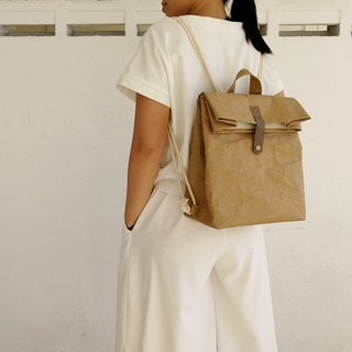 Folded washed kraft paper backpack