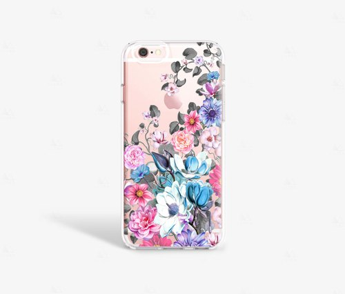 Pretty Floral iPhone 8 Case Floral, Blue and Pink Floral Phone Case