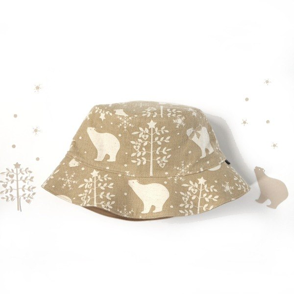 Warm sanded double-sided fisherman hat - Snowflake Christmas Bear (Khaki)
