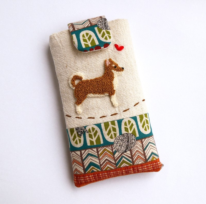 Huang Chai dog embroidery phone bag (M) for 5-inch mobile phone