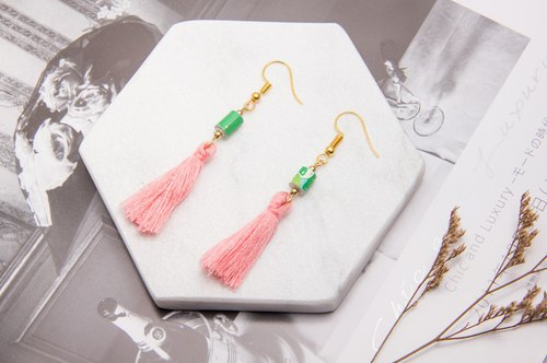National Wind Fringe Earrings - Cherry Blossom