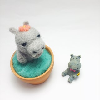 [warm soup pottery] wool felt animal soup pot - flower hippo