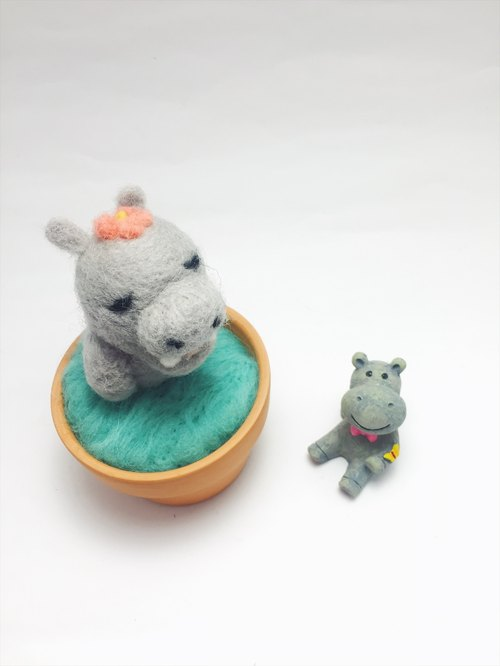 【Warm soup pottery】 wool felt animal soup pot - flowers hippo soup bowl sheep felt bath hippo relaxation