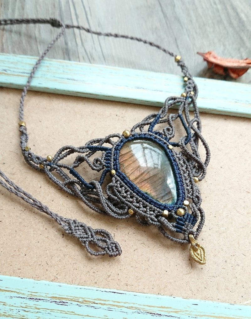 Misssheep-N30 ethnic style double color South American wax braided brass Labradorite necklace clavicle chain
