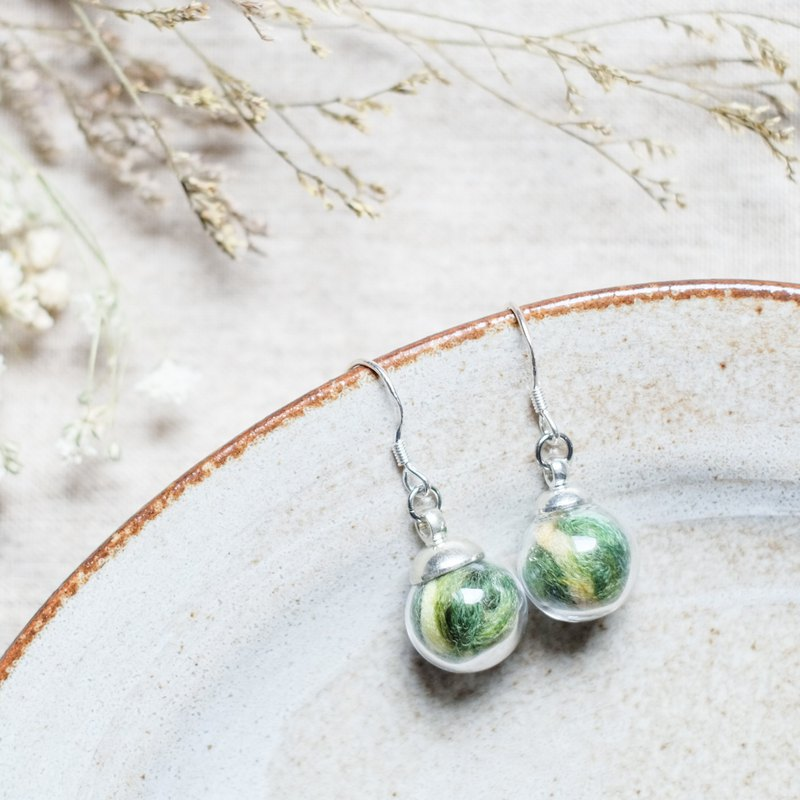 Forest / 925 Silver Dangle Earrings / Glass Dome Earrings