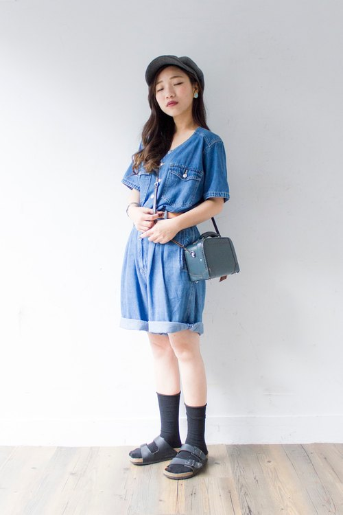 Banana cat. Banana Cats Culottes section! Denim short-sleeved vintage denim coveralls pants / skirt