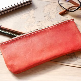 Leather pencil case pencil case pencil box red burgundy wine