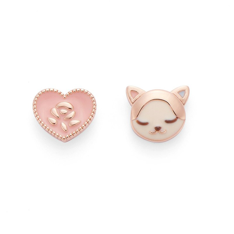 [正韩] PY Love Kitty Earrings 16K Rose Gold
