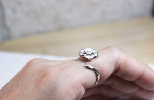 Small flower 925 pearl opening silver ring