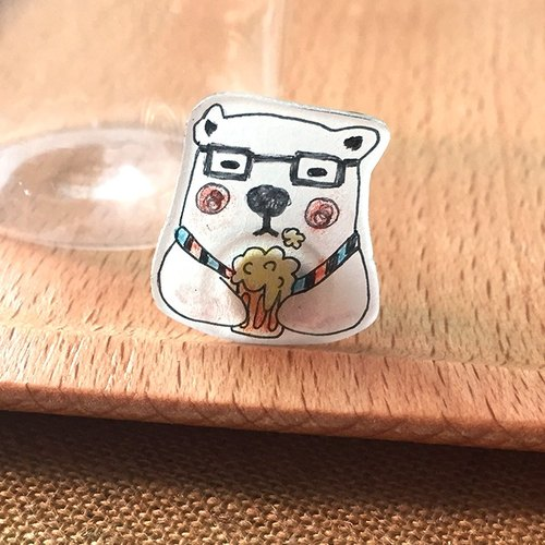 Meow x Oops bear special feature animal series - Minister polar bear brooch after work