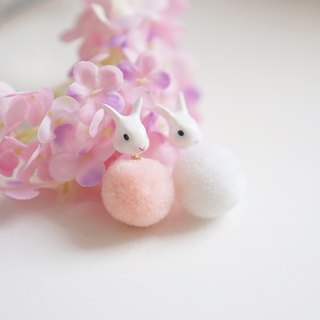 |Unicorn forest | White rabbit hair ball pair of earrings / ear clip