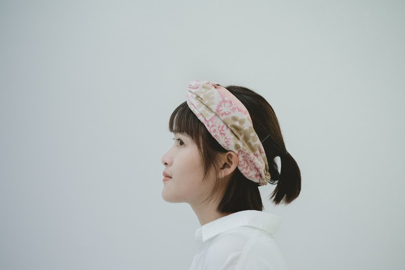 Flower 凛 towel cap type elastic wide version / handmade hair band