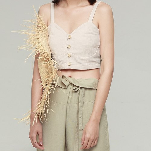 Beige cotton and linen tube top vest button front button design has joined the vest line base package guess why rolled brother wearing a little empty | vitatha Fanta original