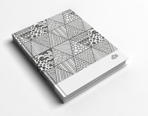 ☆ ° Rococo Strawberries WELKIN Handicrafts Handbook / Notebook / Hand / Diary - Black and White Lines Triangle Geometry Hand Painted