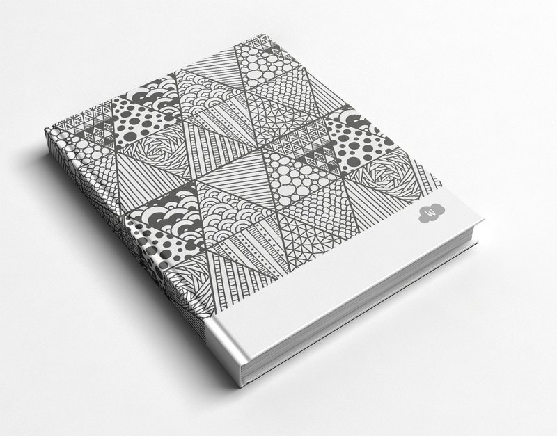 Rococo Strawberry WELKIN Handmade _ handmade book / notebook / Pocket Journal / Journal-_ black and white lines triangle geometry hand-painted