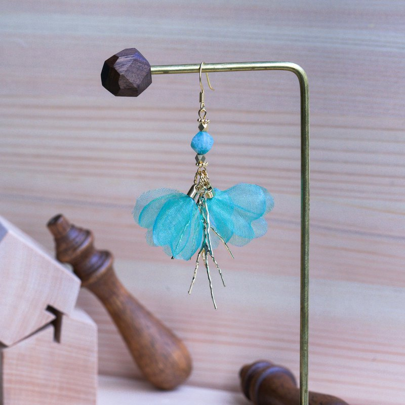 Tinkerbell | Childlike Dangle Golden Plating Floral Earrings - Fabric flower