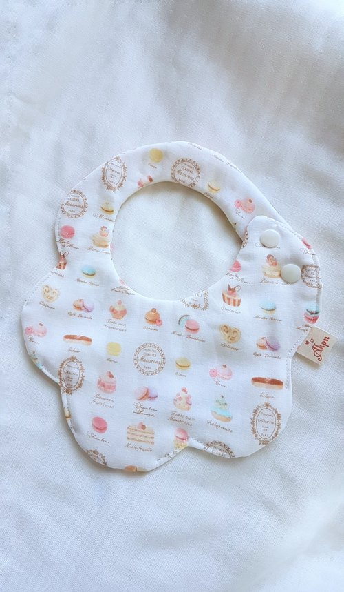 White - French dessert macarons - eight-ply 100%cotton double-sided bib. saliva towel