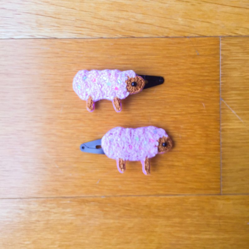 Pink cotton candy sheep hook pin hair clip