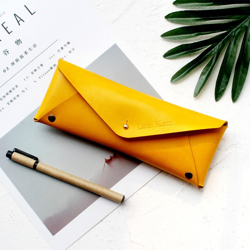 Yellow tea leather large capacity pencil bag leather pen case stationery bag glasses case can be customized graduation gift