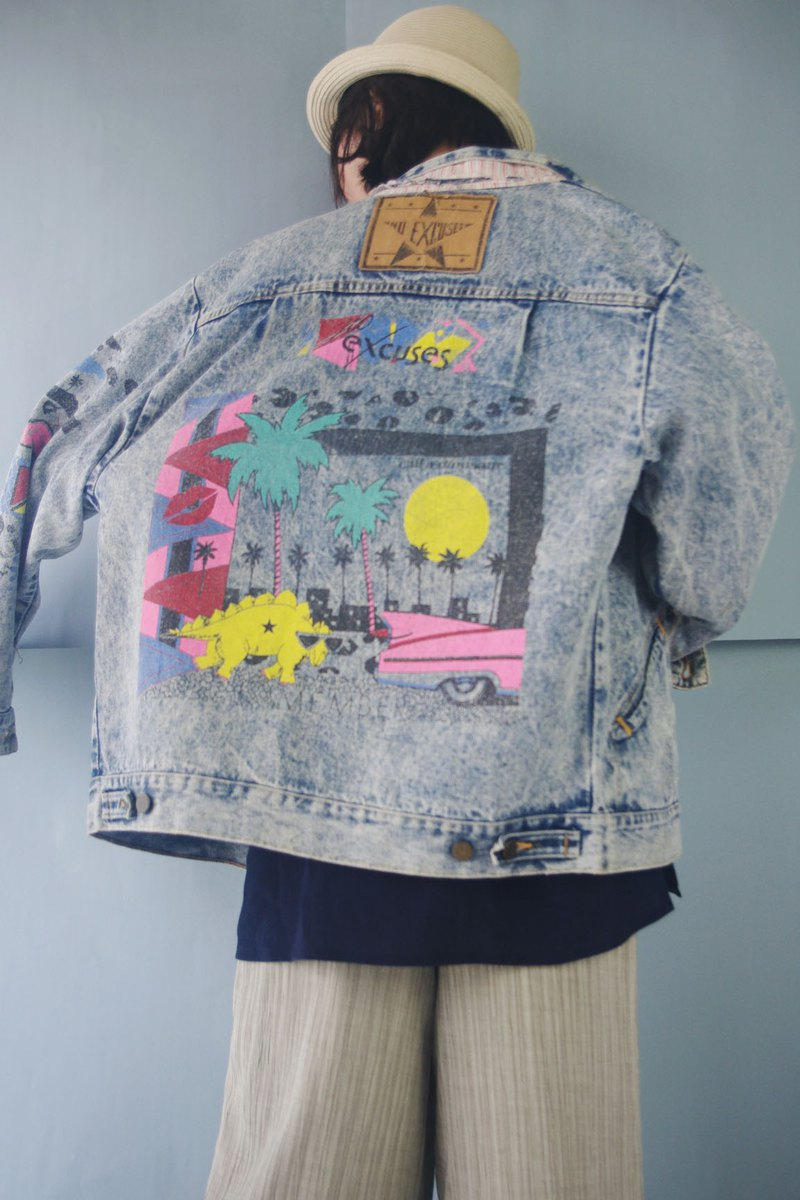 Treasure hunt vintage - street feel graffiti washed blue denim jacket