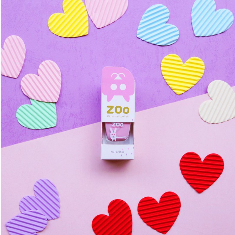 ZOO ㄖ ㄨ ˋChildren's Disposable Nail Polish # 14 Pink Rose Rabbit (Baby Powder) Non-toxic and Tearable