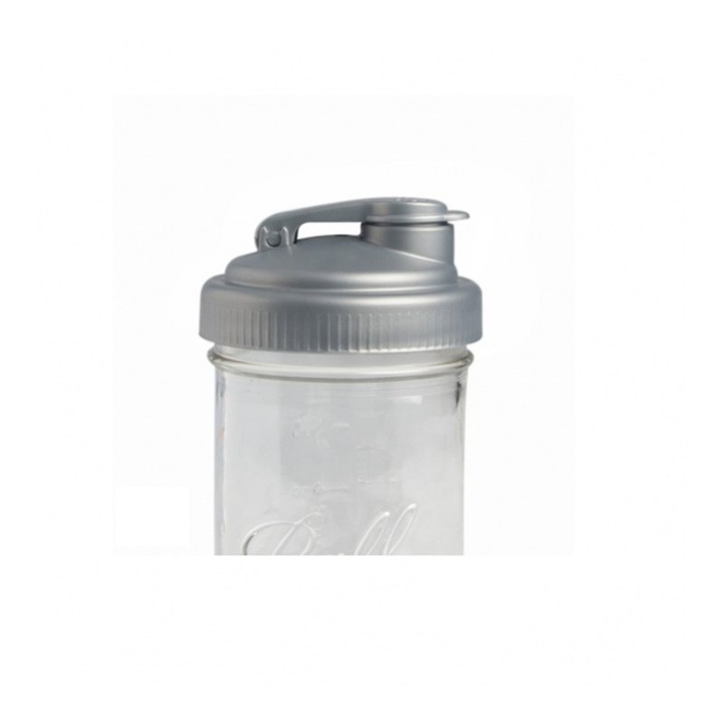 Mason jar wide mouth bottle exclusive multi-function cup cover POUR wide mouth silver (transformed drink cup)