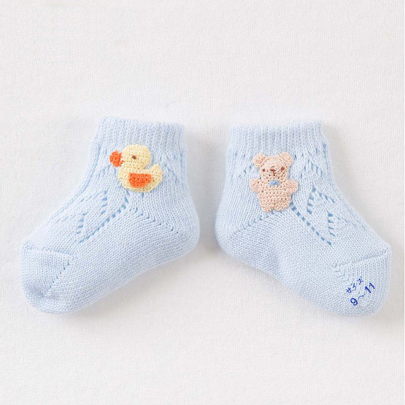【妖精の森】Pure cotton baby socks (Bear embroidery)