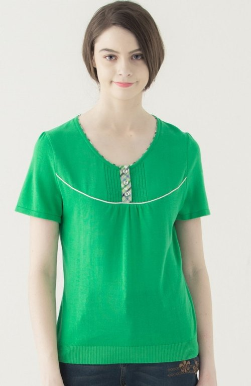 [KIINO] Plaid welt design half lapel round neck sweater --1851-1501 Green