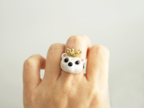 Polar Bear King ring - White Bear polymer clay miniature - Wearable art