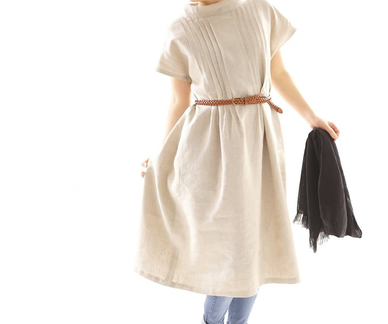 linen dress / midi dress / bottle neck /  loose fitted dress / a81-12