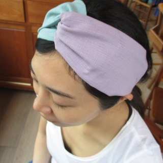 Cross hair band (elastic manual) - two-color mint green / light purple