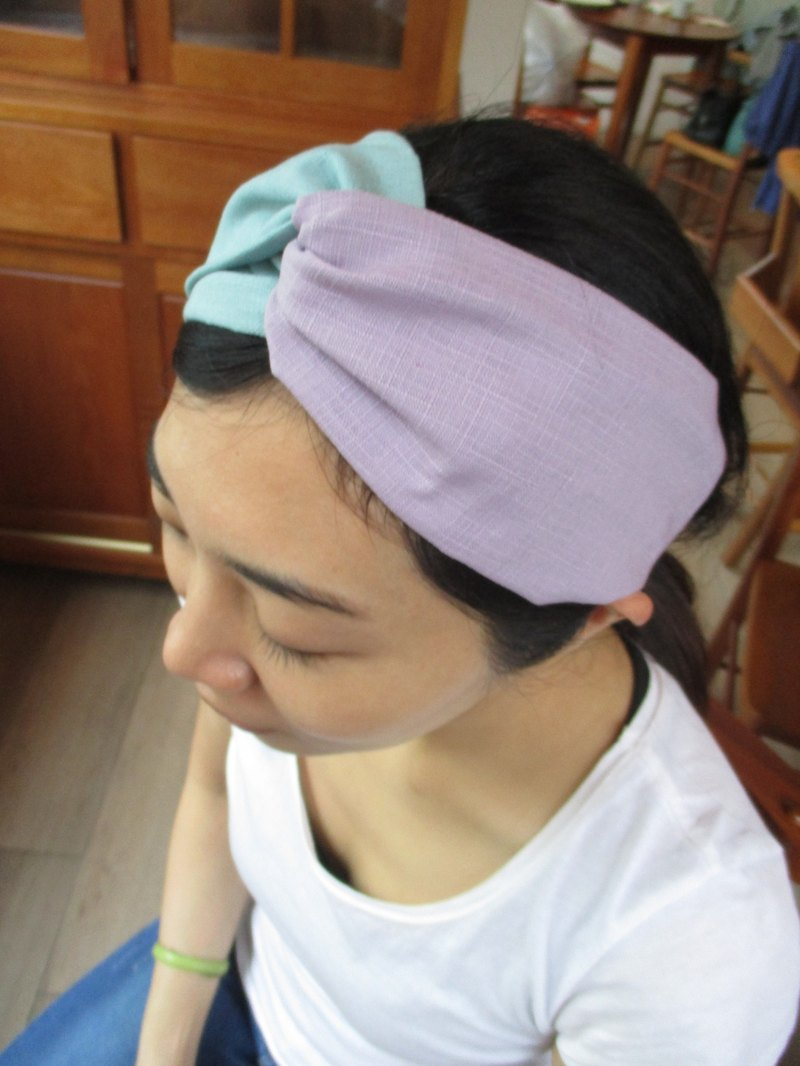 Cross hairband (elastic handwork)-two-tone mint green / light purple